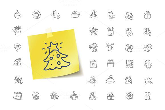 Christmas Doodle Icons by vladut'shop on @creativemarket