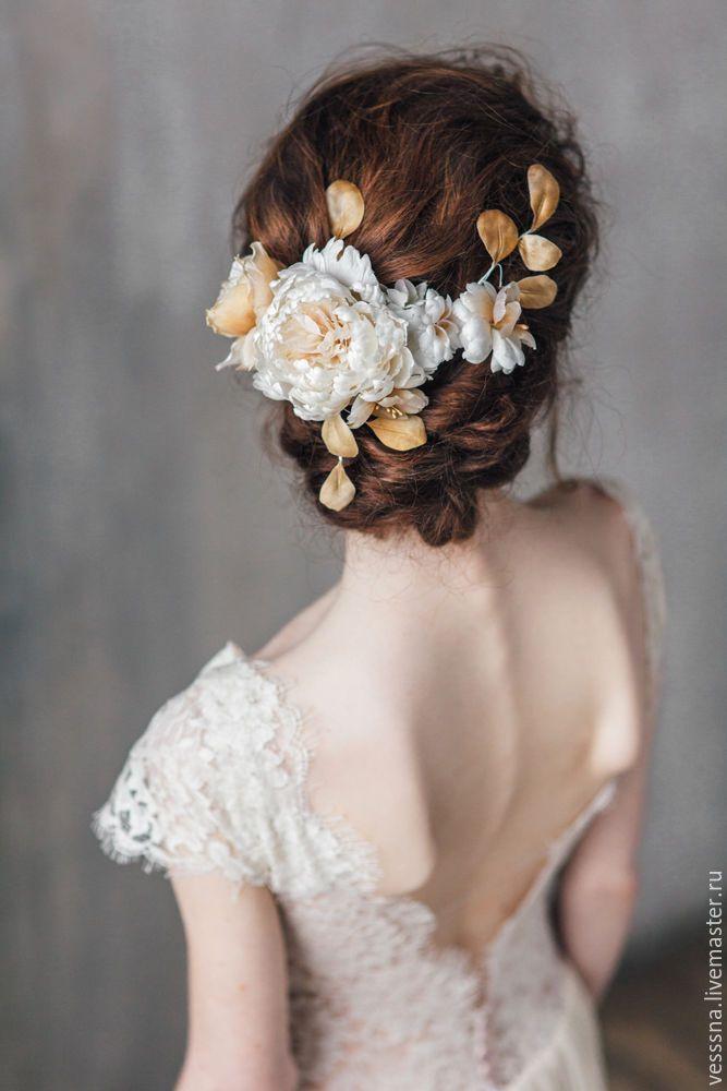 Wedding Accessory with Silken Flowers | Украшение из шелковых цветов для свадебной прическиe