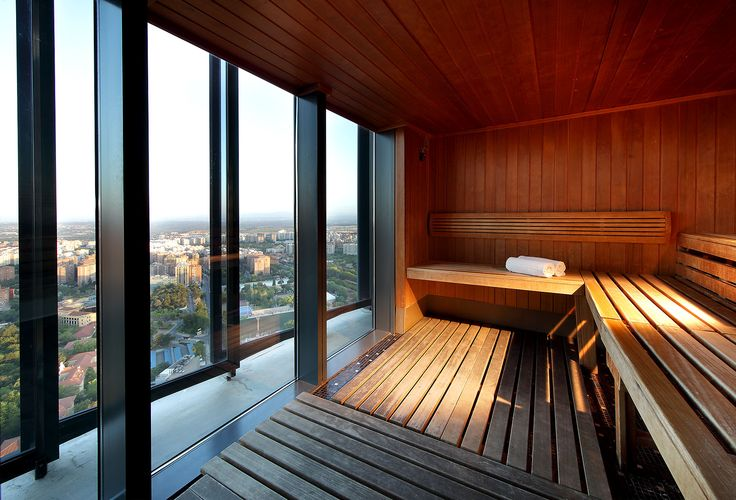 The sauna with best views in Madrid is in Eurostars Madrid Tower 5*  #MagicEurostars #EurostarsHotels #Eurostars #SomosSingulares #Madrid #Spain #spa #relax