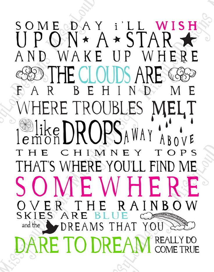Somewhere Over the Rainbow Lyrics Typography by MissyLouDesigns, $5.49