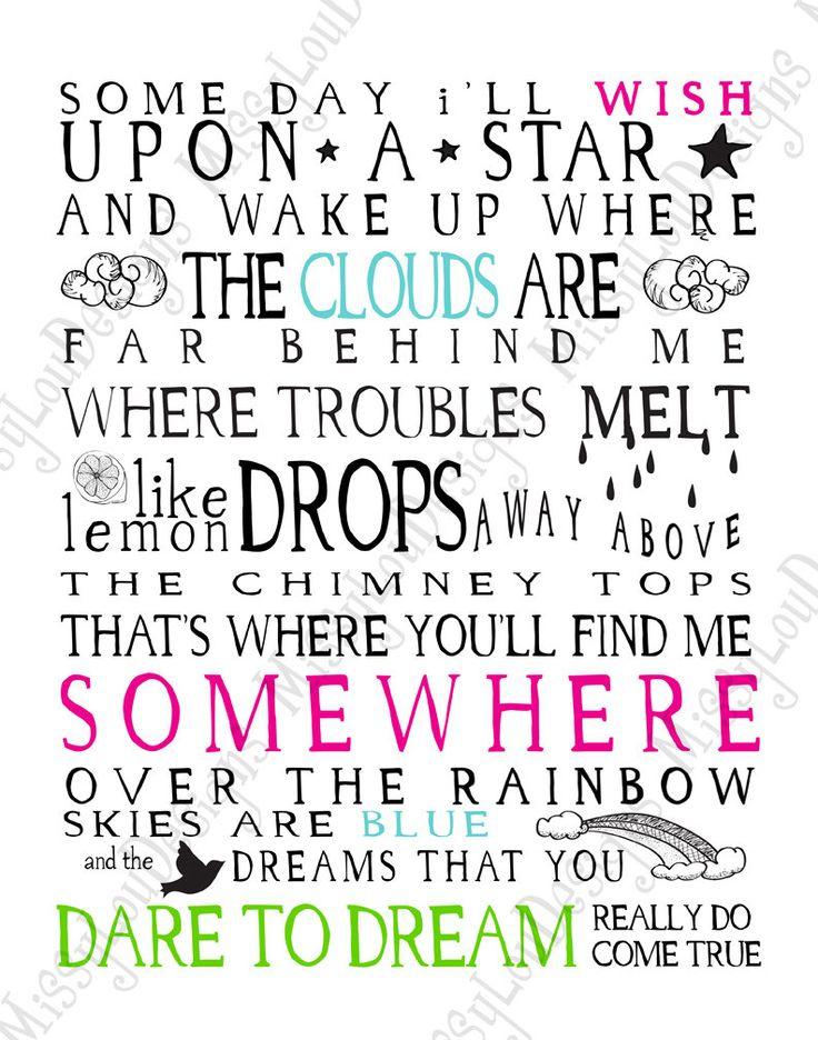 Somewhere Over the Rainbow Lyrics Typography by MissyLouDesigns, $5.49