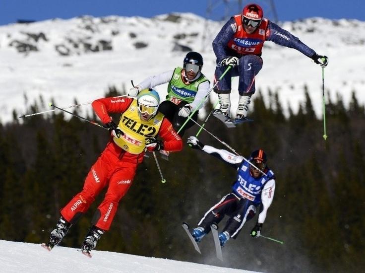 Diapo sport - Finale de la Coupe du monde de skicross à Are, en Suède, le 17 mars. Victoire du Français Jean-Frédéric Chapuis.