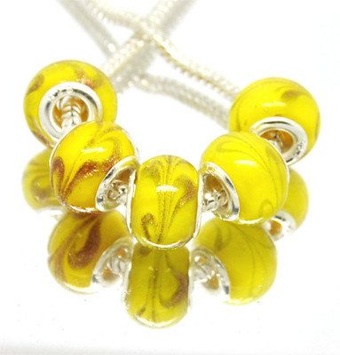 Beautiful YELLOW with Gold MURANO GLASS by CharmingJanetSue, $1.25