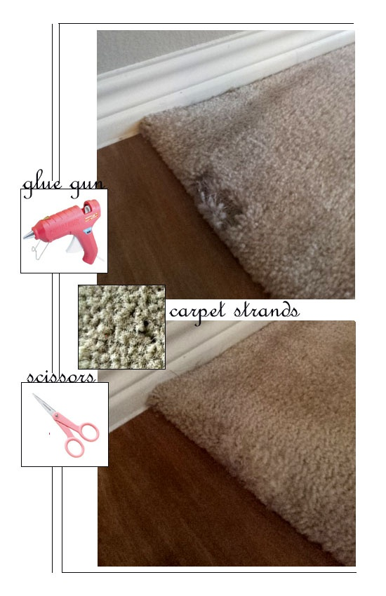 EASY CARPET REPAIR: grab matching strands of carpet fiber from discreet parts of the carpet (pull 'em out one by one), bunch together like a bouquet of flowers, glue into the gaps with glue gun.  Trim top of the strands with scissors to help it blend in.  Dab more glue as necessary to help keep the new strands attached.     This hole was caused by my teething pup-- the apartment manager didn't even notice after my repair!