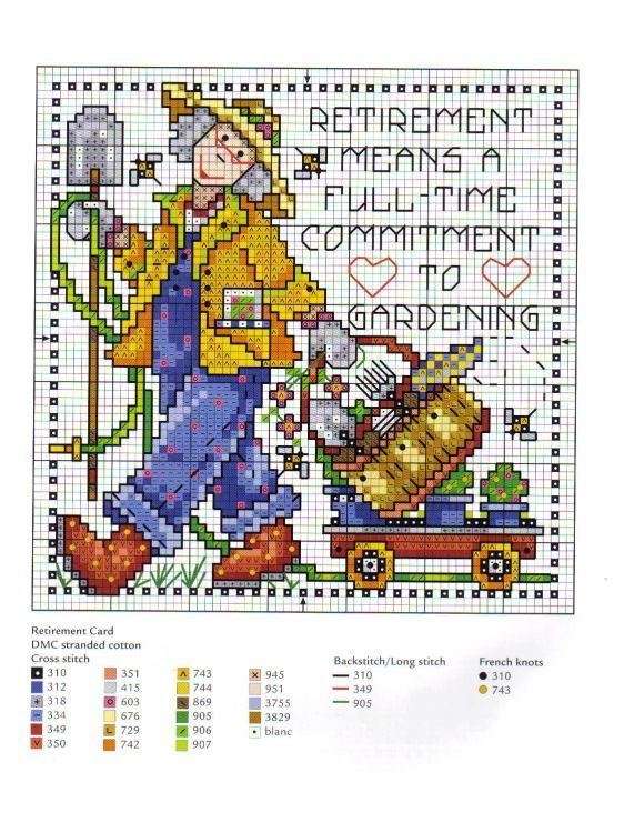 0 point de croix grand mère au jardin - cross stitch grand mother, nanny in the garden