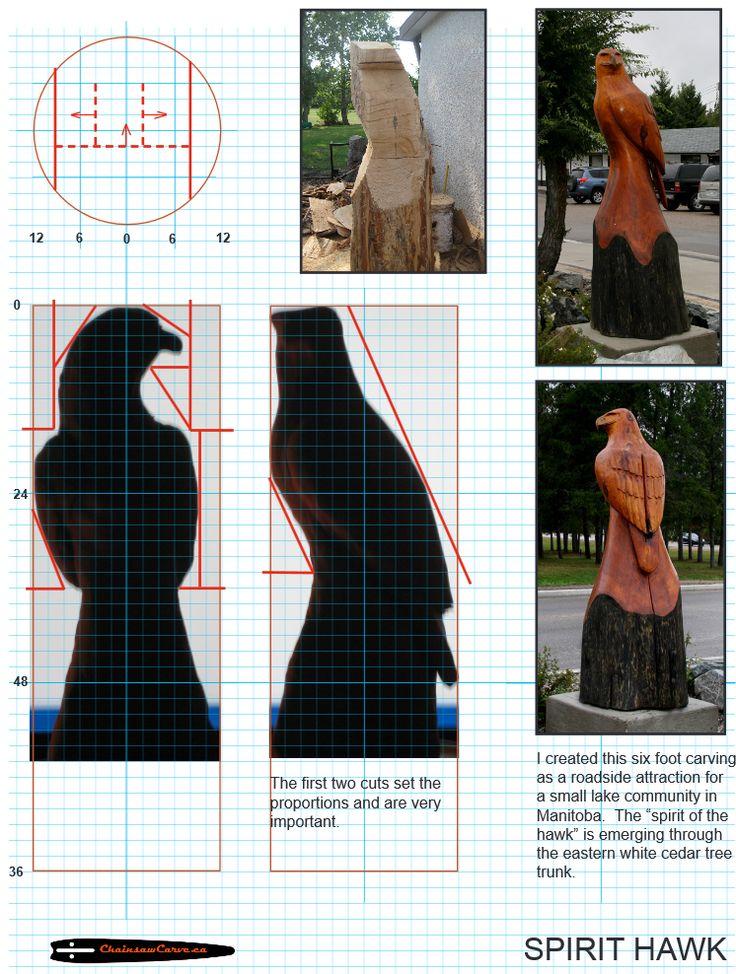 Chainsaw carving patterns free Spirit Hawk. https://www.facebook.com/Bill.Sculptures.tronconneuse.Quebec