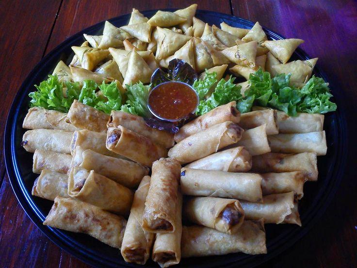 Samosas and spring rolls