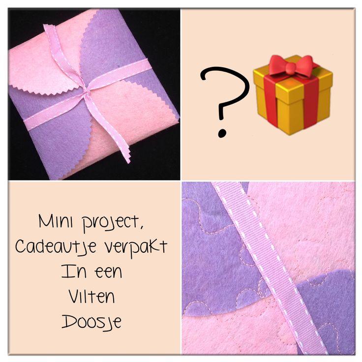 Cadeautje verpakt in een vilten doosje, door UMH Creaties.