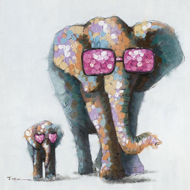 Trendykunst presenteert dit prachtige schilderij van een olifant en zonnebril  Olieverf schilderijen zijn met de hand geschilderd op doek.