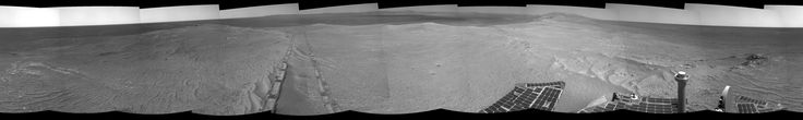 OPPORTUNITY'S TRACKS NEAR ENDEAVOUR CRATER RIM  >>>>    The component images for this 360-degree panorama were taken by the navigation camera on NASA's Mars Exploration Rover Opportunity after the rover drove about 97 feet (29.5 meters) during the mission's 3,642nd Martian day, or sol (April 22, 2014).