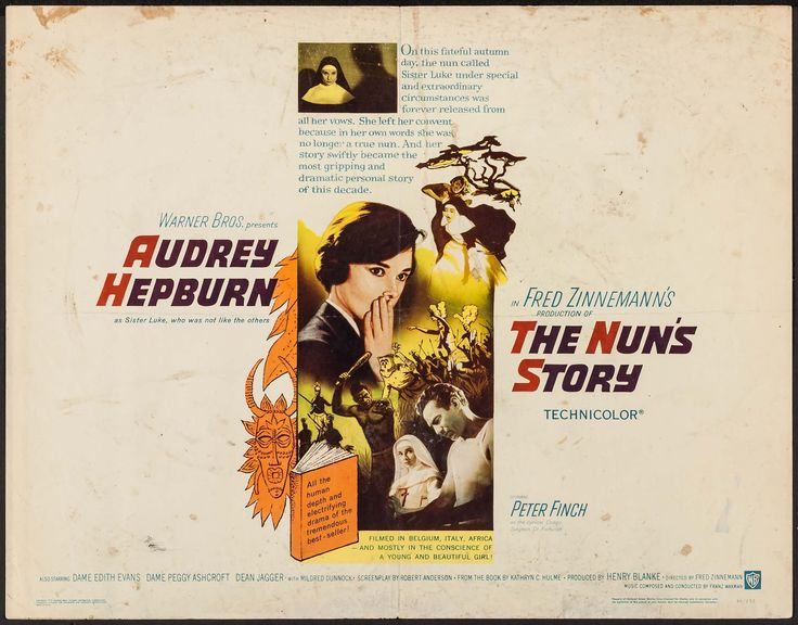 """The Nun's Story (Warner Brothers, 1959). Half Sheets (2) (22"""" X 28""""). Romance. Starring Audrey Hepburn, Fred Astaire, Kay Thompson, Michel Auclair, Robert Flemyng, Dovima, Suzy Parker, Sunny Hartnett, Jean Del Val, Virginia Gibson, Sue England, Ruta Lee, Alex Gerry, and Iphigenie Castiglioni. Directed by Stanley Donan. Included with the half sheet for Funny Face is a half sheet for The Nun's Story (Warner Brothers, 1959)."""