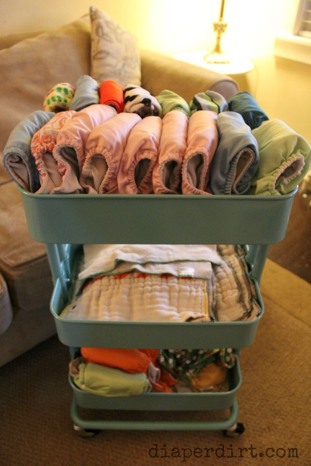 Cloth Diaper Storage Cart. Ikea Raskog Kitchen Cart! BONUS -- once out of Diapers it can be used for school or craft supplies!