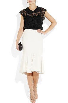 Lace top (this one by Dolce & Gabbana) over black tank, mid-calf pleated skirt + strappy nude heels