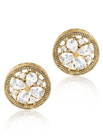 18K Gold Plated Enclosed Flower Cz Diamond Earrings For Women.
