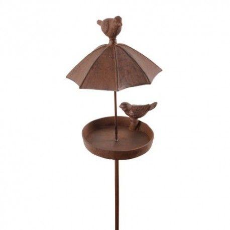 Abreuvoir oiseaux en fonte sur tige et parapluie