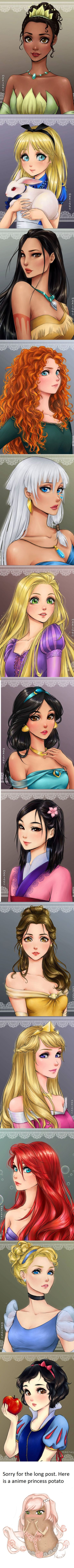 If Disney Princesses were Anime Characters. My fav are Mulan and Jasmine. (by mari945)