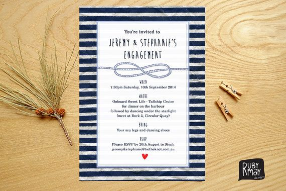 Nautical Engagement Invitation Tie the Knot by RubyMayDesign, $15.50
