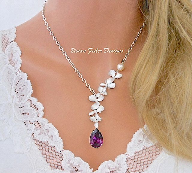 Purple Wedding Jewelry Amethyst Orchid Necklace Pearl Bridal Jewelry Bridesmaid Gift Wedding Jewellery by InStyleBoutique on Etsy https://www.etsy.com/listing/195985830/purple-wedding-jewelry-amethyst-orchid