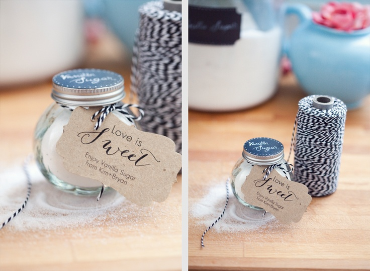 Cute wedding favor idea from my wedding photographers - Kim and Bryan of Kimbry Studios Blog: >> DIY vanilla sugar wedding favors