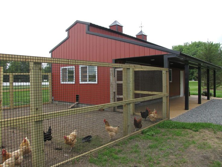 I like this barn with a chicken run attached. I imagine having the coop inside the barn, one or two horse stalls, a tack room and maybe lengthen it a bit more for a milking parlor.