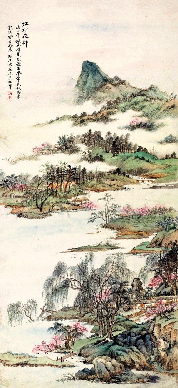 Chinese Art Prints Spring Nature Landscape Watercolor Painting