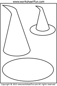 Witch Hat – Tracing, Coloring and Cutting- 5 Halloween Worksheets - 5 Worksheets