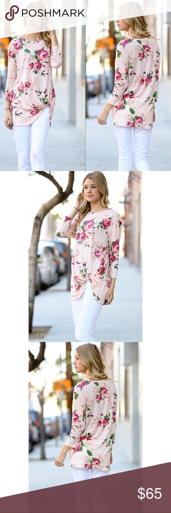 🌸🍃 Peach Floral Knot Tie Detail 3/4 Tunic Top 🌸 Arriving soon 🌸  🇺🇸 MADE IN USA  💗 Floral Tunic Top with knot detail 💗 Color may slightly vary according to device color calibration and lighting (indoor/outdoor/time of day) 💗 Polyester/Spandex  Blend 💗 Hand wash cold water, hang dry Tops