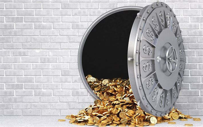 safe, bank, gold coins, store, gold, dollars