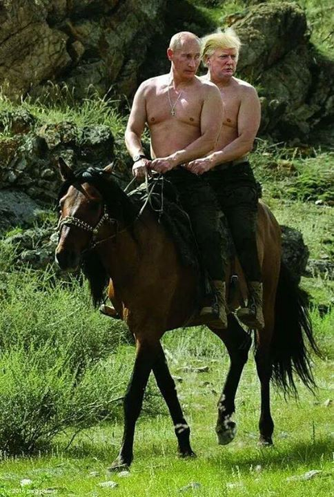 Riding with my buddy Putin.  I will be putin this country back together! #HesNotMyPresident #PresidentTrump