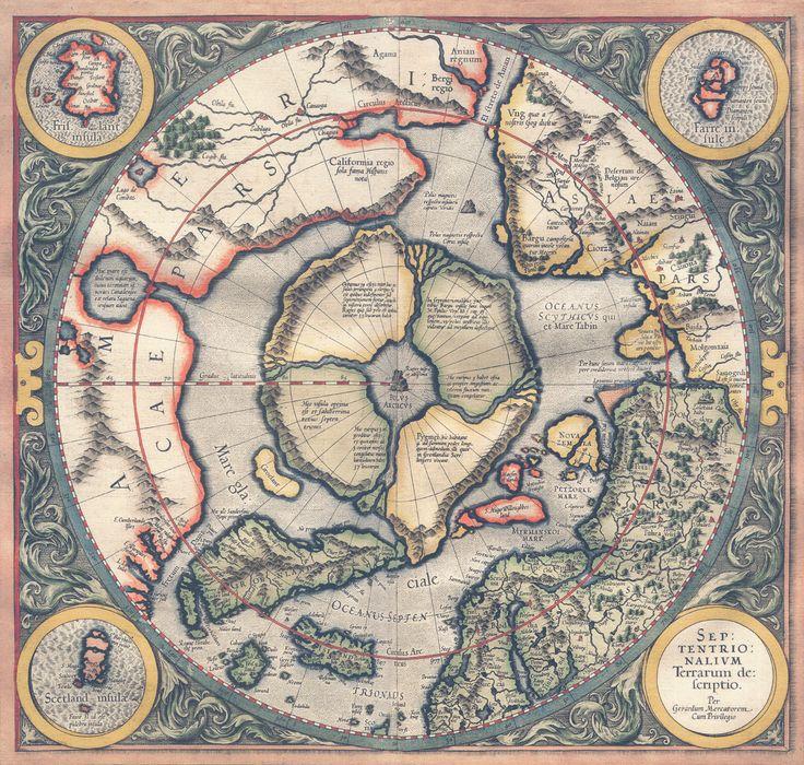 Presentación de la región del Ártico en un mapa de Gerardus Mercator de 1595.