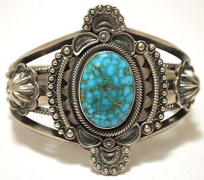 Old Pawn Navajo Spider Web Kingman Turquoise Cuff Bracelet Wallace Yazzie Jr | eBay