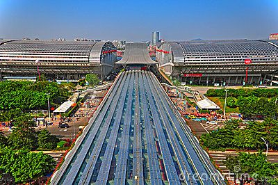 Aerial view of pazhou complex where canton fair is being held. The center of the main building is known as pearl promenade. It serves as the main passage to the exhibition sites on its sides. It's 450 meter long and 30 meter wide.
