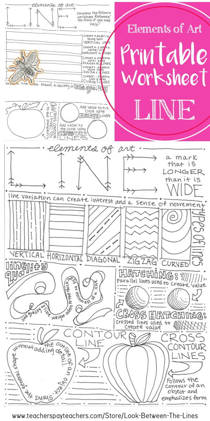 This Printable Worksheet Covers The Element Of Art Line Examples And Information Are Included On The Front Elements Of Art Line Line Art Lesson Art Worksheets [ 1470 x 735 Pixel ]