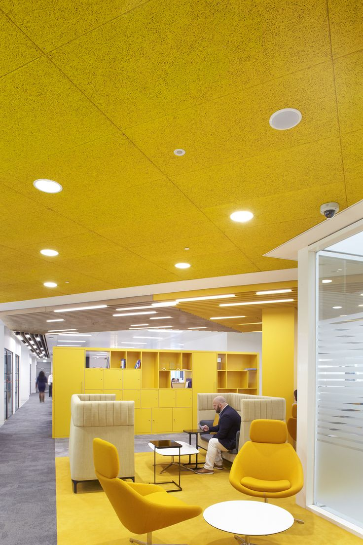 Post Office HQ at Finsbury Dials - acoustic coloured ceiling by Heradesign