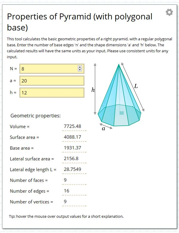 Calculate the geometric properties of a pyramid with base a regular polygon.