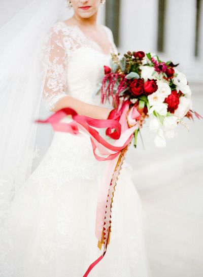 Romantic with ribbon: http://www.stylemepretty.com/canada-weddings/alberta/2015/07/01/red-white-bouquets-perfect-for-canada-day/