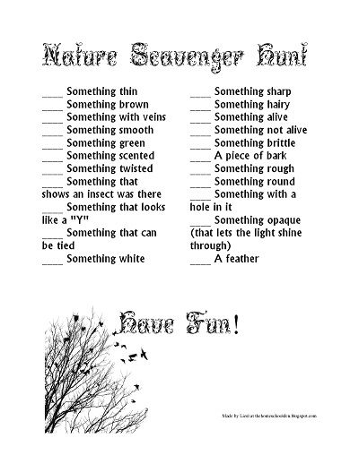 Free Nature Scavenger Hunt List