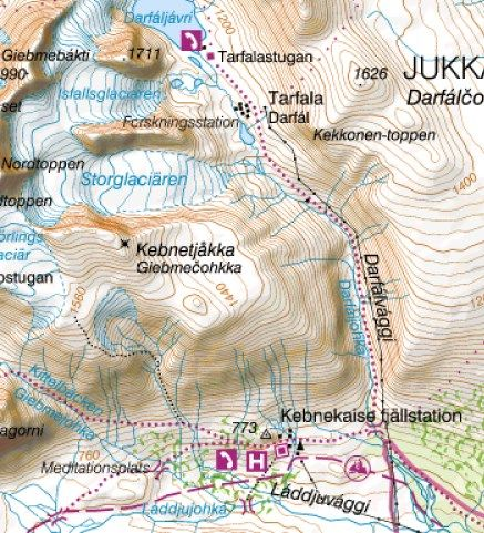 Kebnekaise map