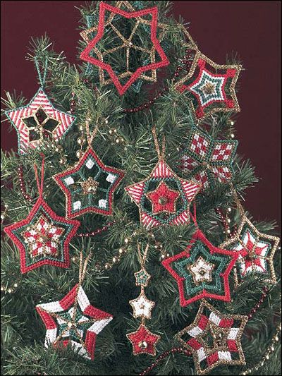 Christmas Stars Ornaments Plastic Canvas Pattern Download from e-PatternsCentral.com -- A dozen sparkling stars are a delightful addition to your holiday tree.