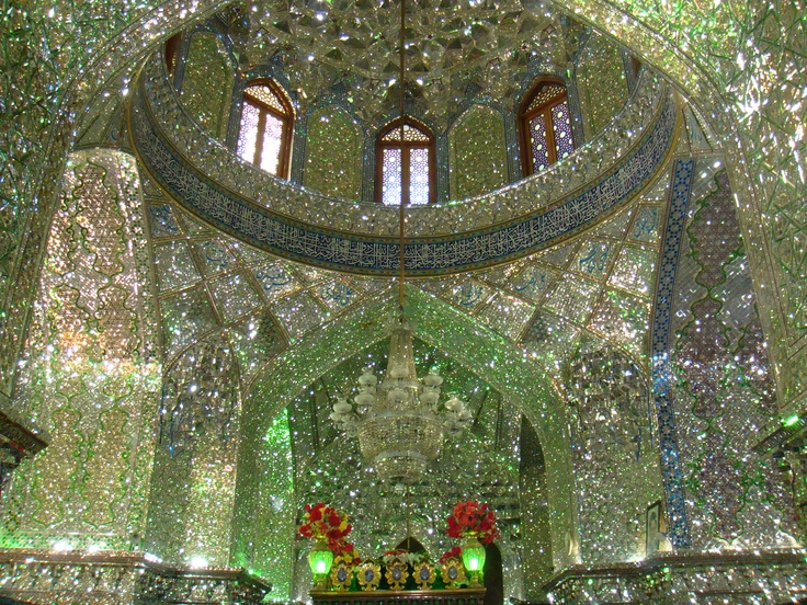 Aramgah-e Shah-e Cheragh - countless minute mirror tiles reflect everything withinShiraz Iran, Imam Reza, Aramgah Shahe, Aramgah Shahs, Shahe Cheragh, Reza Brother, Mirrors Mausoleum, Cheragh Mirrors, Shahs Cheragh