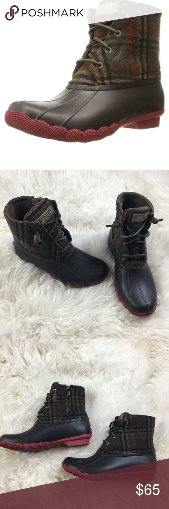 Sperry Saltwater Brown/Plaid Wool Duck Booties Sperry  Women's Saltwater duck booties  Brown/Plaid Wool Size 6.5 M New without box  Retail $119 Side zip closure  Boot height 6.5 inches  0.5 inch heel  10 Inches in-sole length Sperry Shoes Winter & Rain Boots