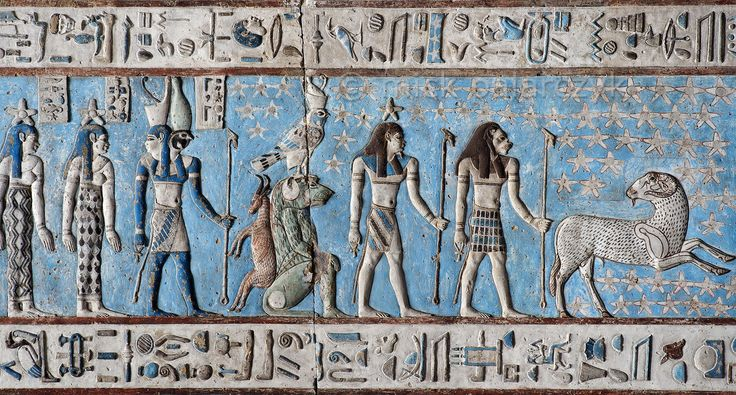 [EGYPT 29531] 'Zodiac sign Aries at Dendera.'  A jumping ram portrays the zodiac  sign Aries on the astronomical ceiling in the outer hypostyle hall of the Hathor Temple at Dendera. The ceiling consists of seven separate strips but here we are looking at a detail of the upper register of the EASTERNMOST STRIP. There are six zodiac signs depicted in the entire eastermost strip and the other six can be found on the westernmost ceiling strip of the hall. These signs are of Babylonic-Greek ...
