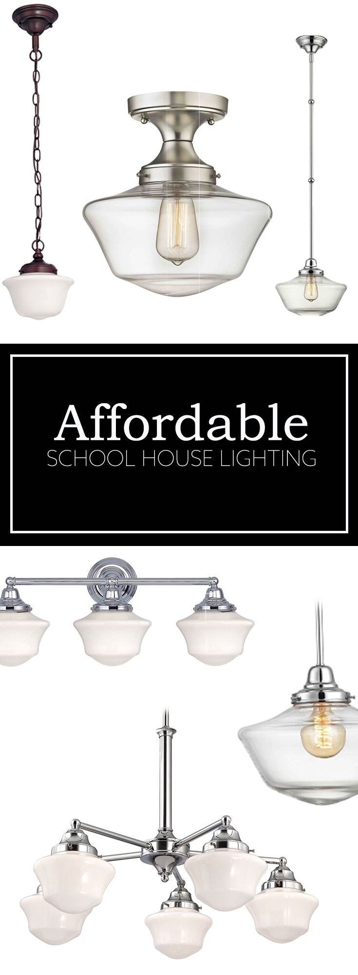 Schoolhouse lighting pendant lights, hallway lighting, bathroom lighting. New clear schoolhouse glass looks great in farmhouse style designs too!