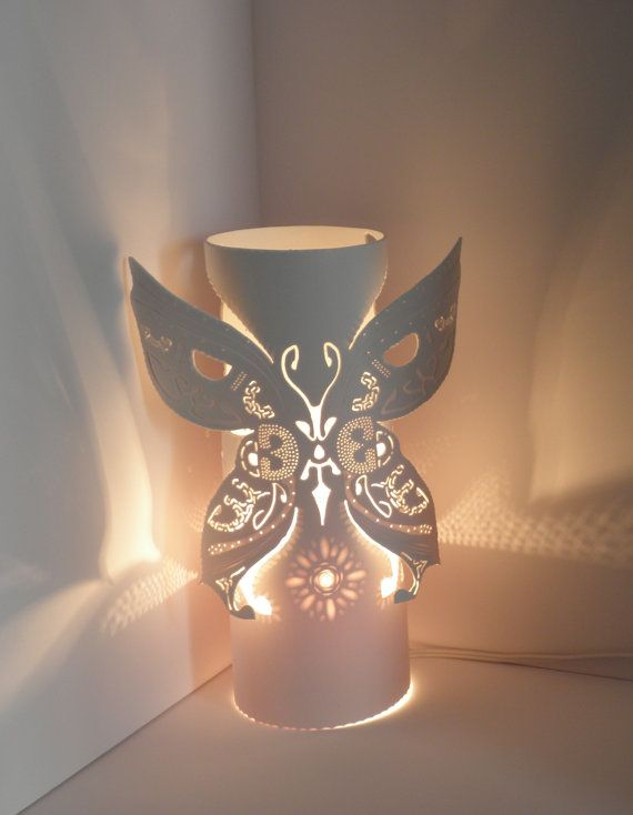 Table lamp. Butterfly with spread wings. Flowers. by GlowingArt