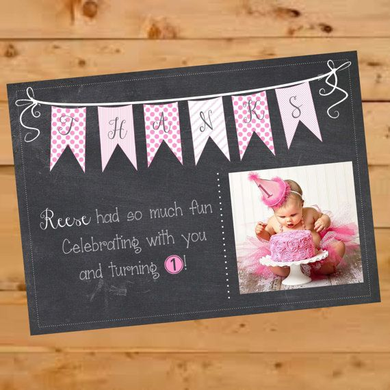 First Birthday Thank You postcard for a chalkboard themed first birthday party! $13.00