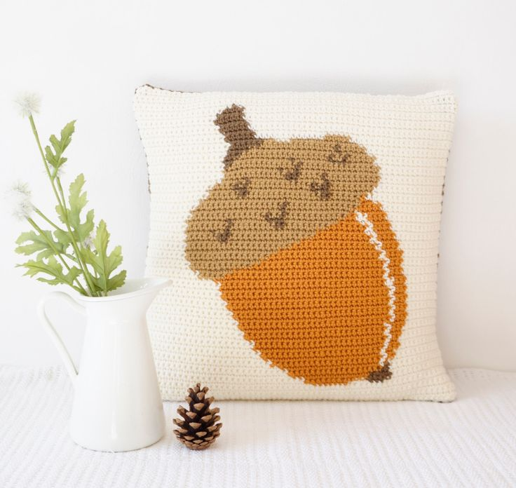 Mustard Yellow, Acorn Cushion, Crochet Pattern, Fall Pillows, Autumn Colours, Cascade 220, Intarsia Technique, With Photos, PDF Download by LittleDoolally on Etsy https://www.etsy.com/listing/469212014/mustard-yellow-acorn-cushion-crochet