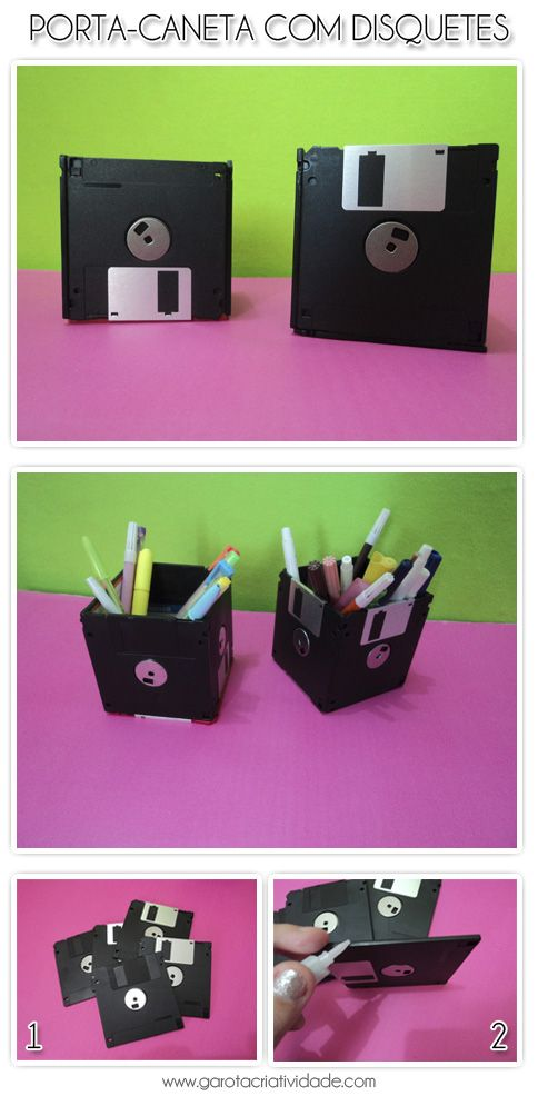Reciclagem: Como fazer um porta-lápis com disquetes em 2 passos « Garota Criatividade http://www.garotacriatividade.com/reciclagem-como-fazer-um-porta-lapis-com-disquetes-em-2-passos/  #creative #criativo #creativity #criatividade #reciclagem #recycle #upcycle #idea