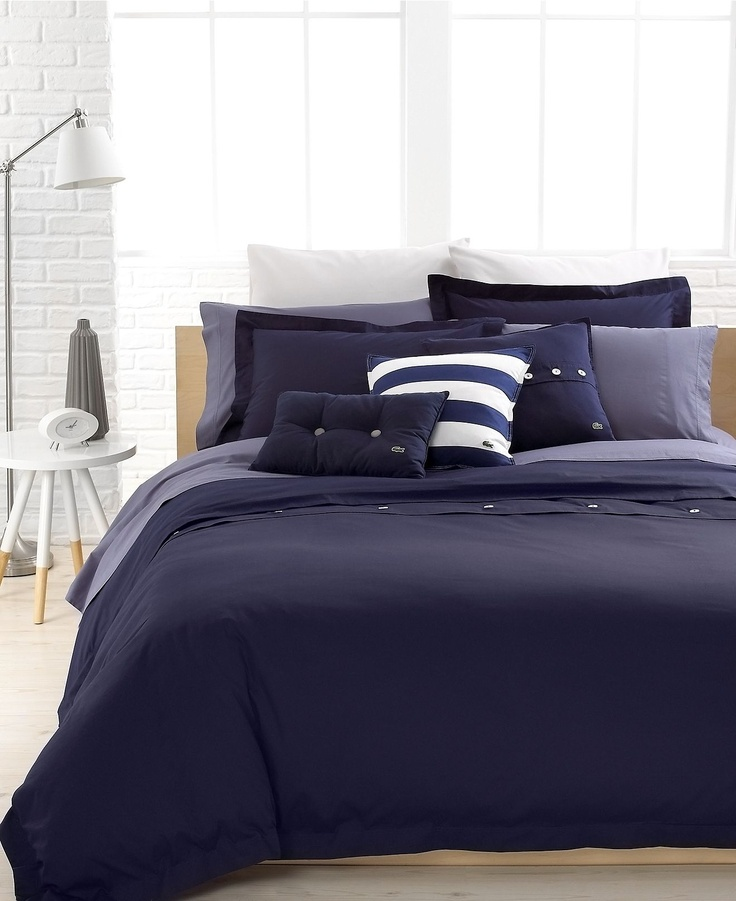 Lacoste Bedding Solid Peacoat Brushed Twill Comforter And