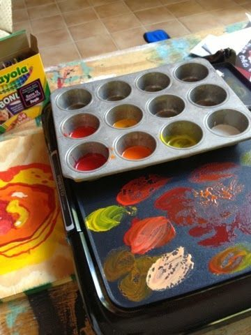 Encaustic Painting Using Crayons. Break Crayons in a muffin tin and heat over a griddle. Use soy way to clean brushes between color or wipe on the hot surface of the griddle until all the wax is removed. Eh... definitely one of those projects where you'd want to keep a griddle specifically for this and search yard sales or thrift stores for it.
