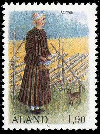 Finnish stamp / Åland stamp - National costume of Saltvik by Allan Palmer